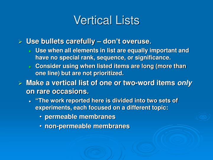 Vertical Lists