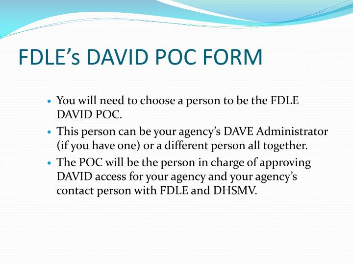 FDLE's DAVID POC FORM