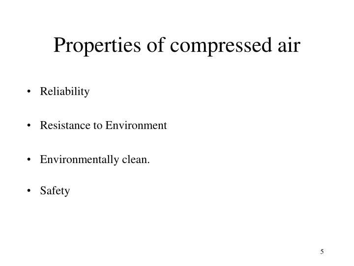 Properties of compressed air