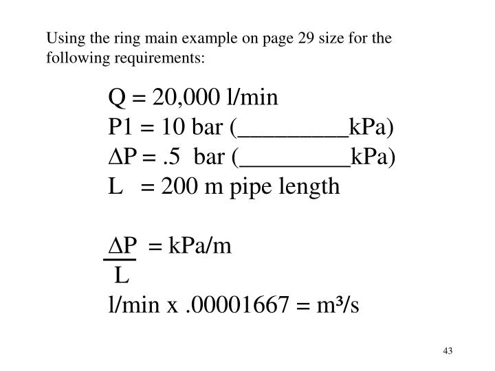 Using the ring main example on page 29 size for the following requirements: