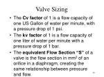 valve sizing