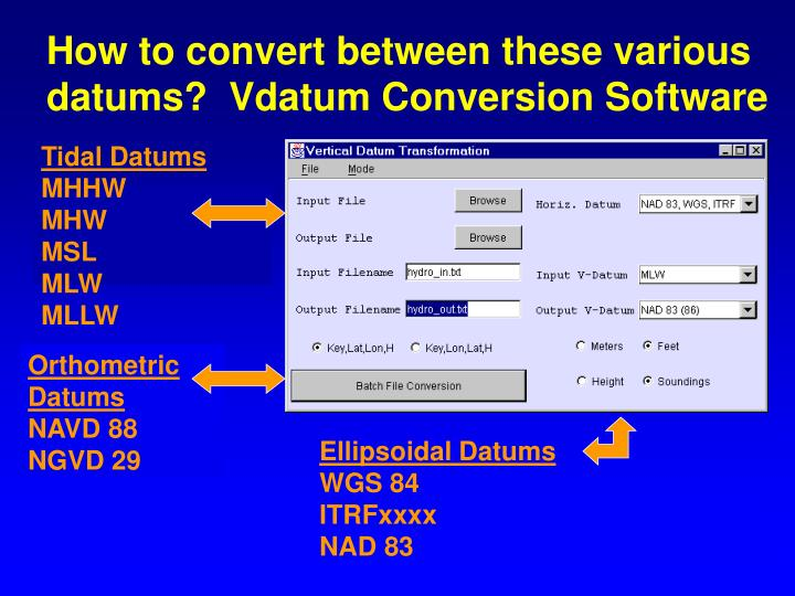 How to convert between these various datums?  Vdatum Conversion Software