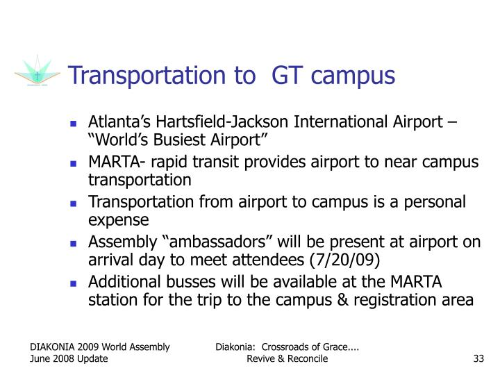 Transportation to  GT campus