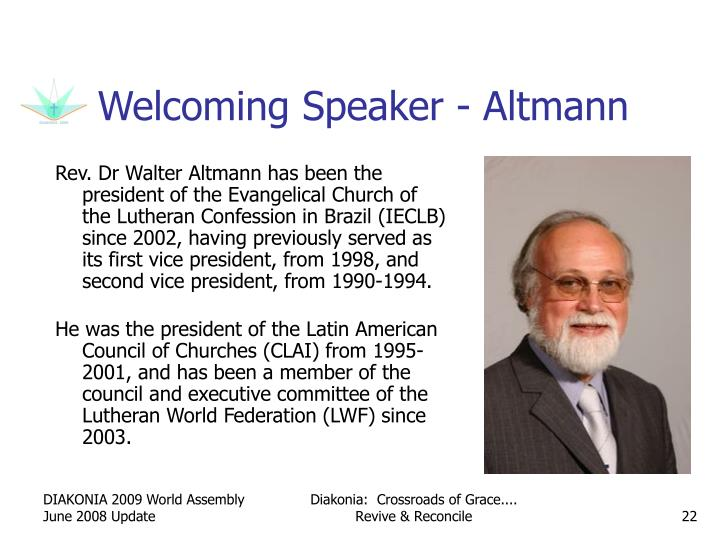 Welcoming Speaker - Altmann