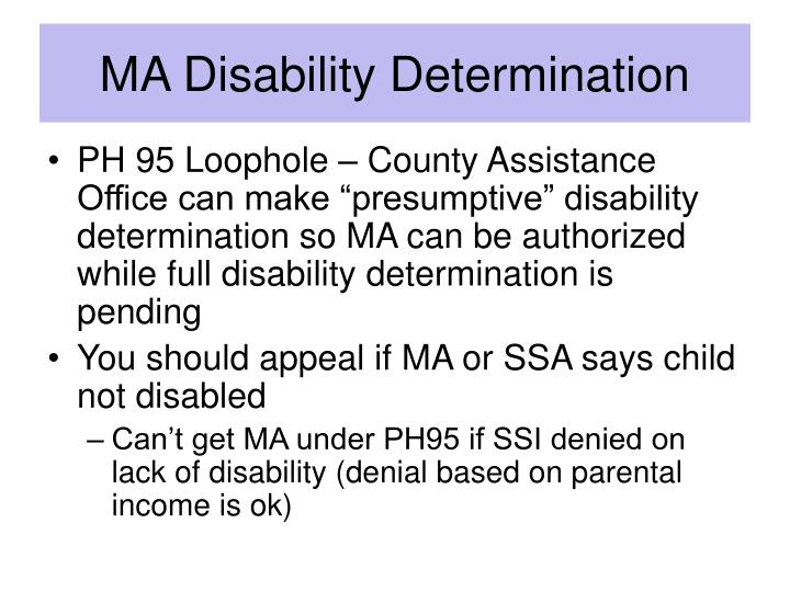 MA Disability Determination
