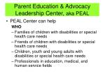 parent education advocacy leadership center aka peal