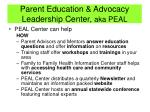 parent education advocacy leadership center aka peal1