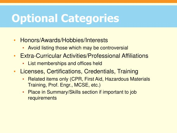 Optional Categories