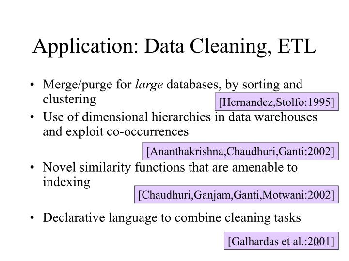 Application: Data Cleaning, ETL