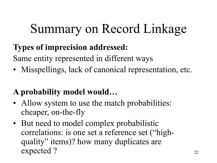 Summary on Record Linkage