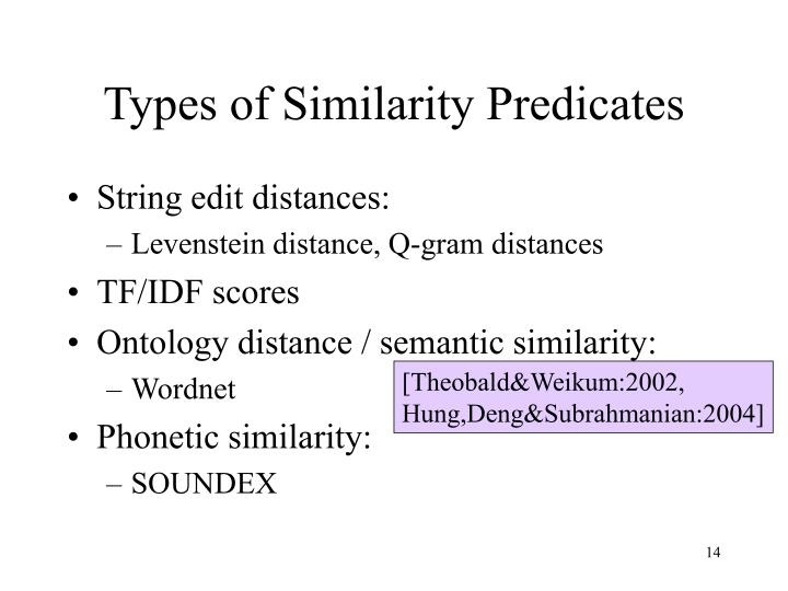 Types of Similarity Predicates
