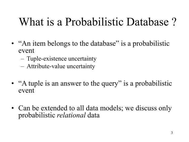 What is a probabilistic database