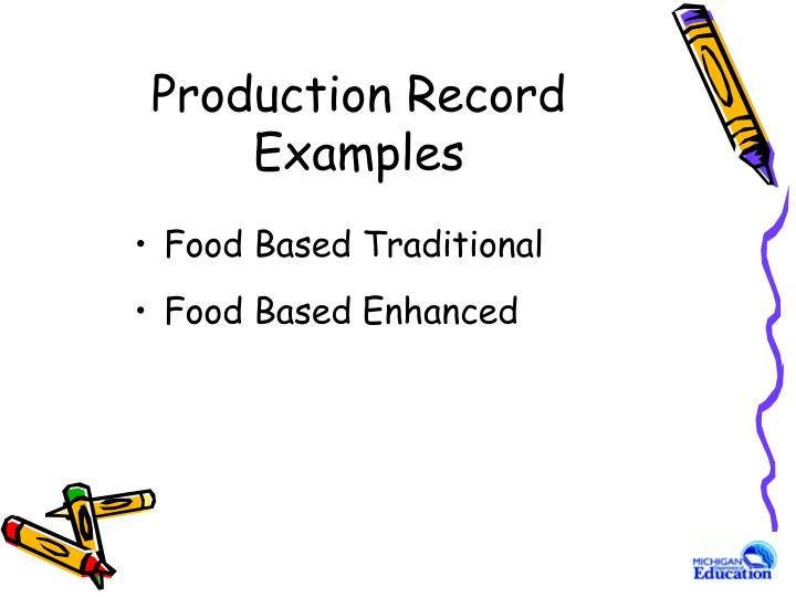 Production Record Examples