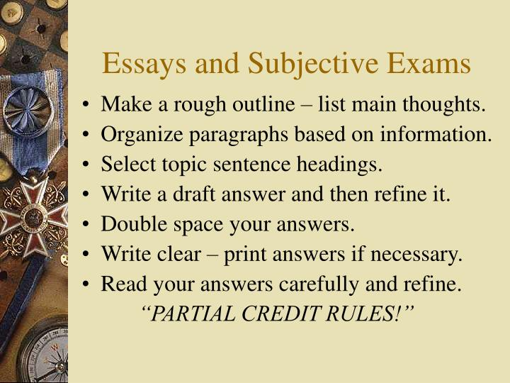 Essays and Subjective Exams