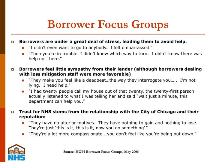 Borrower Focus Groups