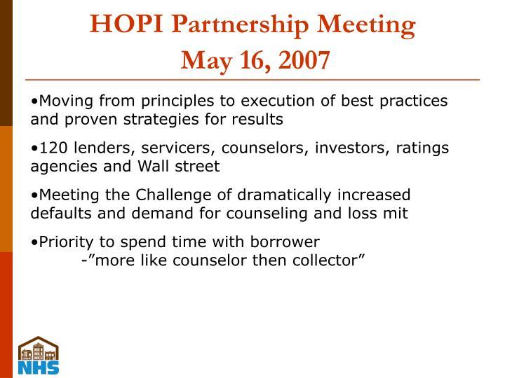 HOPI Partnership Meeting