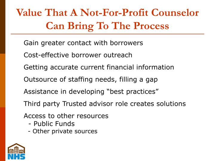 Value That A Not-For-Profit Counselor Can Bring To The Process