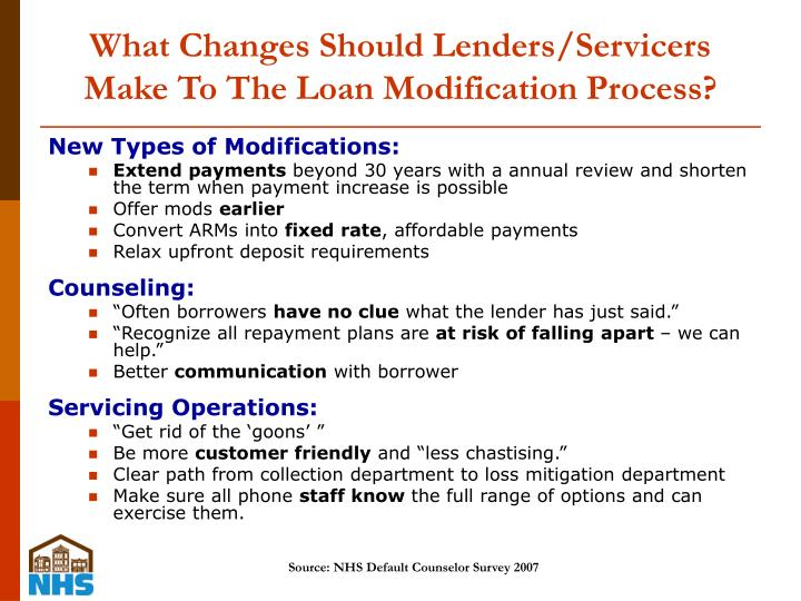 What Changes Should Lenders/Servicers Make To The Loan Modification Process?