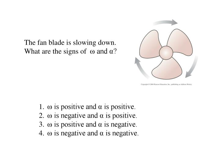 The fan blade is slowing down. What are the signs of