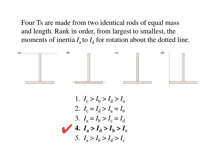 Four Ts are made from two identical rods of equal mass and length. Rank in order, from largest to smallest, the moments of inertia