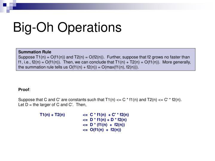 Big-Oh Operations