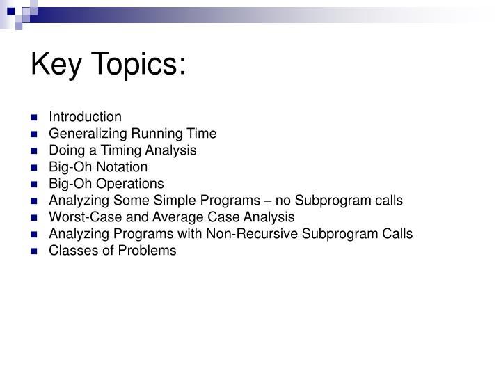Key Topics: