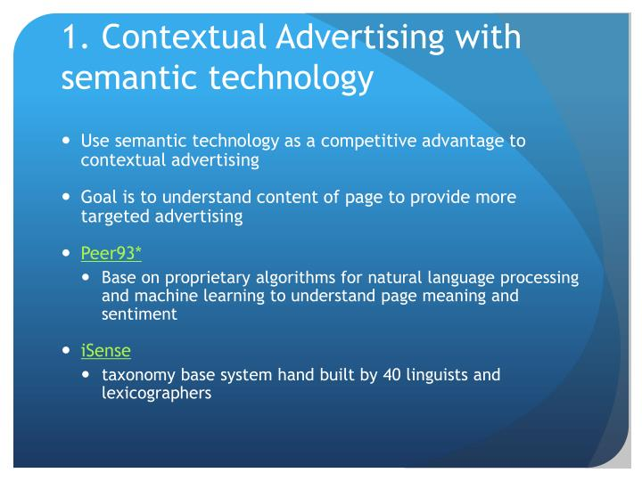 1. Contextual Advertising with semantic technology