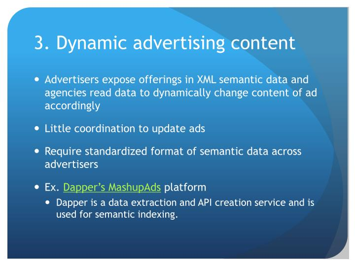 3. Dynamic advertising content