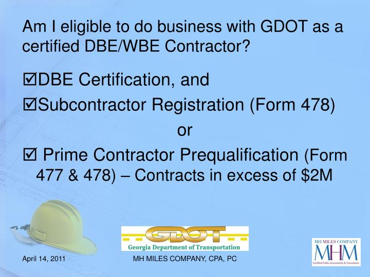 Am I eligible to do business with GDOT as a certified DBE/WBE Contractor?