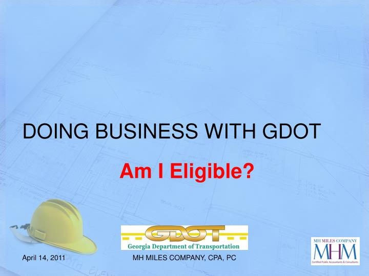 DOING BUSINESS WITH GDOT