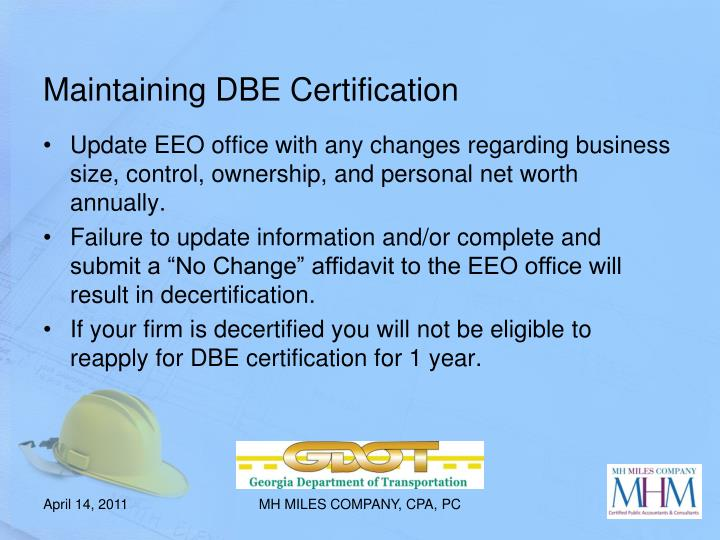 Maintaining DBE Certification