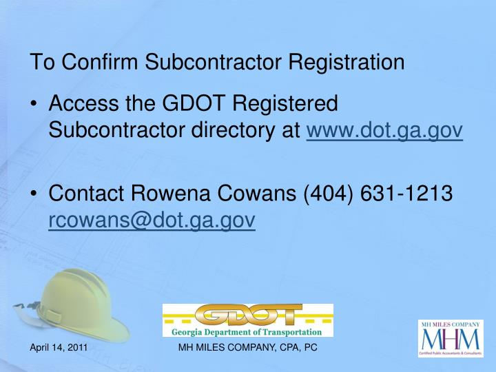 To Confirm Subcontractor Registration