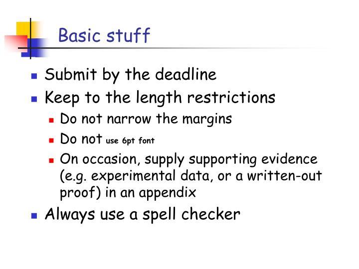 Basic stuff