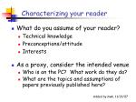 characterizing your reader