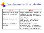 contributions should be refutable