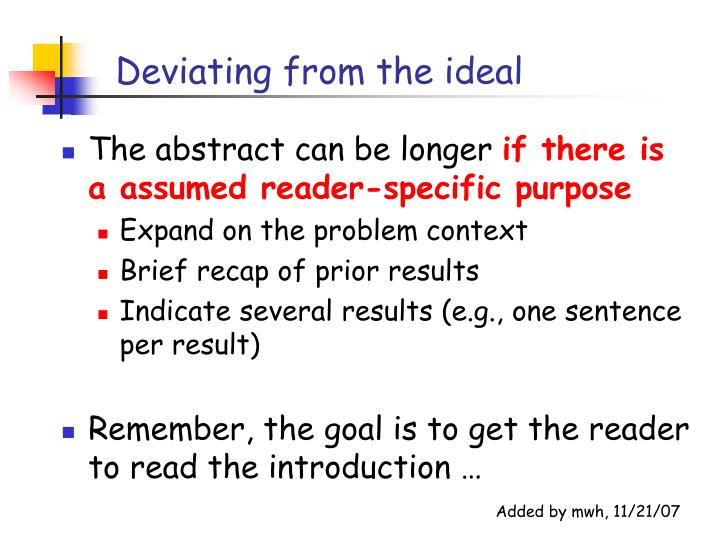 Deviating from the ideal