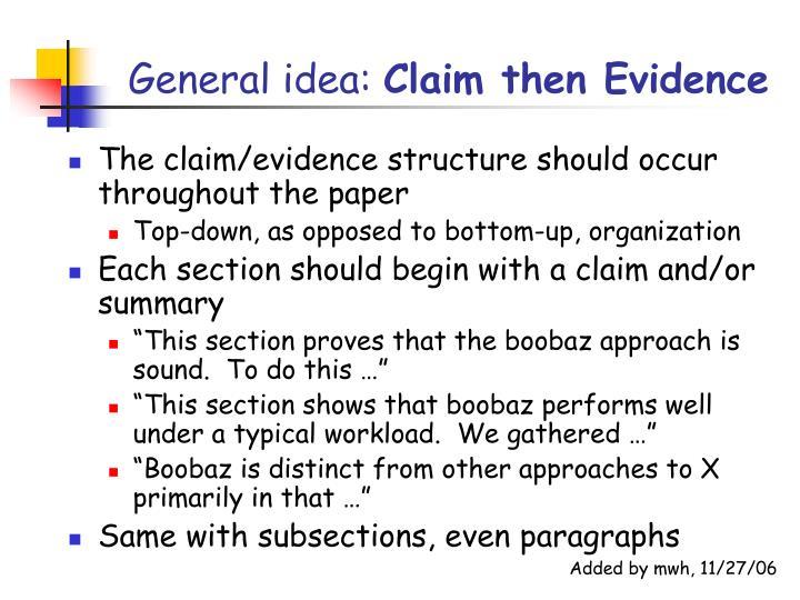 General idea: