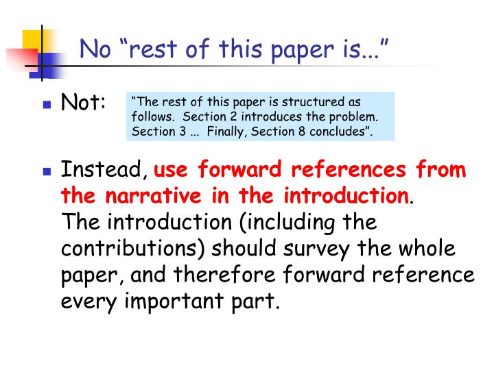 """No """"rest of this paper is..."""""""