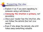presenting the idea1