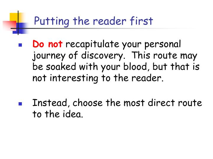 Putting the reader first