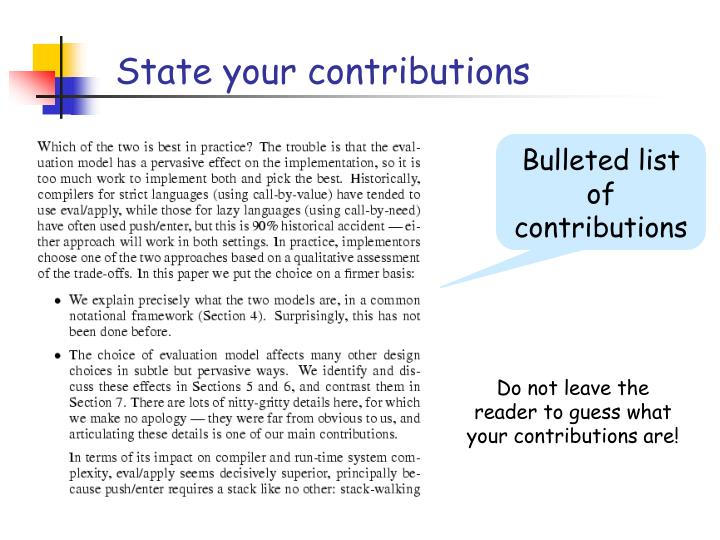 State your contributions
