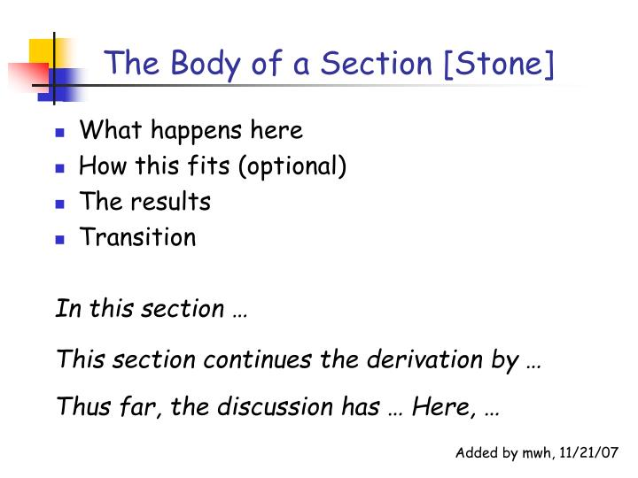 The Body of a Section [Stone]