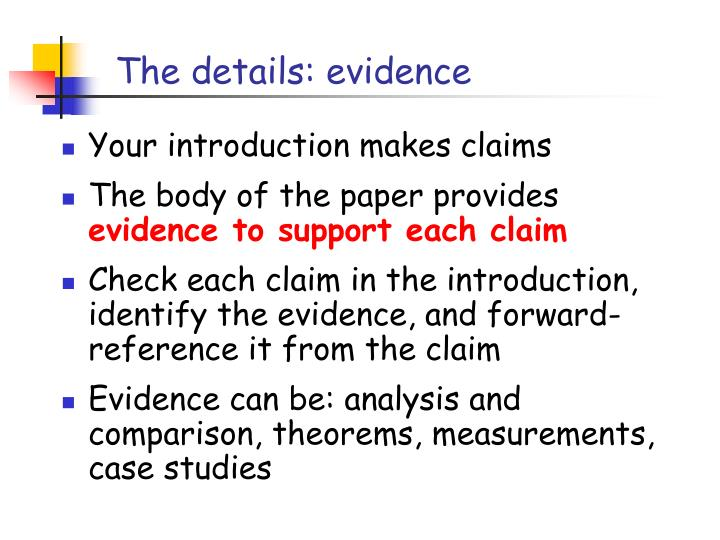 The details: evidence