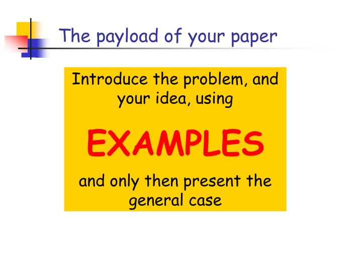 The payload of your paper