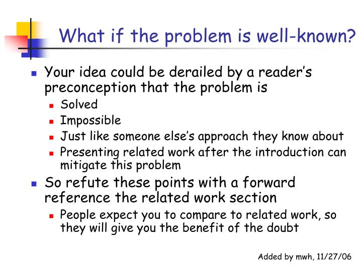 What if the problem is well-known?