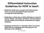 differentiated instruction guidelines for how to teach