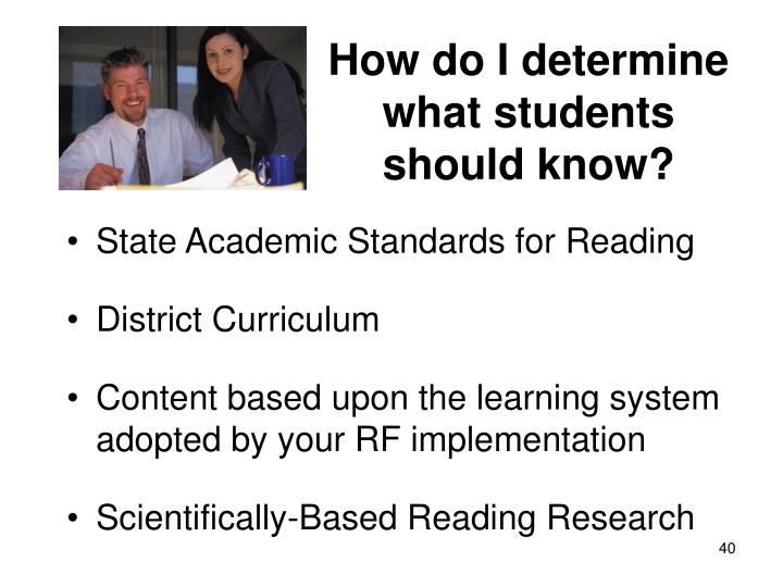 How do I determine what students should know?