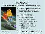 the abc s of implementing differentiated instruction