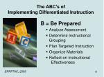 the abc s of implementing differentiated instruction1