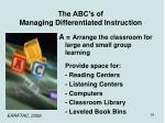 the abc s of managing differentiated instruction